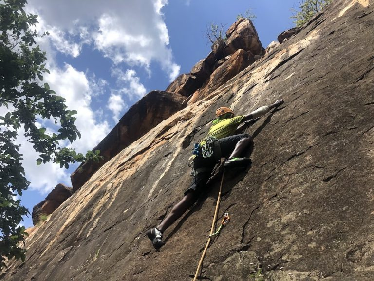 Maina on Farm House Wall Olokwe Rift Valley Adventures Chasing the cat and mouse - rock climbing in Kenya...